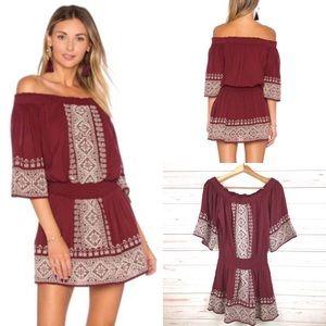 Tularosa Fiona Off Shoulder Wine Embroider Dress S